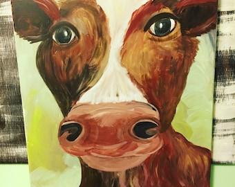 Acrylic Cow Painting- Cow Canvas Art- Farm Art- Cow Decor- Cow Artwork- Cow Painting- Animal Art- Cow Print- Wall Art- Acrylic Painting-Farm