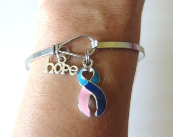 Thyroid Cancer/Disease LOVE HOPE Customizable Awareness Ribbon Stainless Steel Bangle Bracelet With Optional Love Hope and Letter Charm