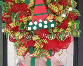 Pre-Order Custom Christmas Wreath with Elf, Christmas Decoration