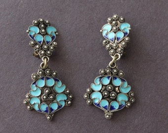 Vintage Egyptian Revival Enameled Silver Earrings  #LV20