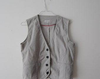 Striped Women's Vest Summer Everyday Vest Fitted Light Waistcoat Striped Waistcoat Grey Vest Medium Size