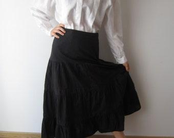 Black Midi Маxi Skirt Black Cotton Skirt Comfortable Summer Skirt Ruffle Skirt  Festival Skirt Medium Size Black Skirt Boho Bohemian Skirt
