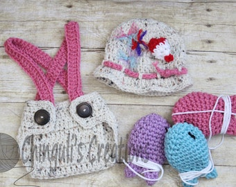 Baby Girl Fisherman Crochet Outfit Hat Gone Fishing Hat Fisherman Baby Hat Diaper Cover Fishes Set Newborn fisherman Outfit