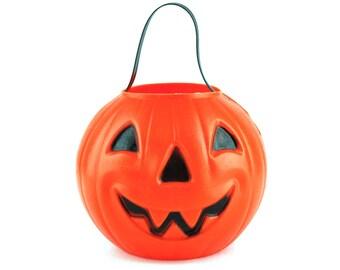 Halloween Blow Mold Blow Mold Pumpkin Pail Trick Or Treat Bucket Carolina Vintage Halloween Bucket Plastic Jack O Lantern 6 Inch Candy