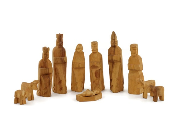 Wooden Hand Carved Nativity Sets ~ Nativity set scene wooden hand carved by