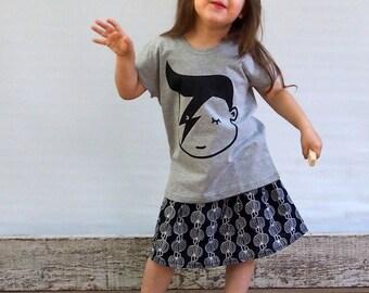 Girls T Shirt Bowie T shirt   Children Clothing Girls T-shirt Girls tee 100% cotton David Bowie comic print silkscreen