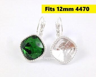 Silver Cushion Cut Earrings Settings 1 Pair Fit Swarovski Crystal 4470 12x12mm Glue On Nickel Free Leverback Earring Base Rope Trim