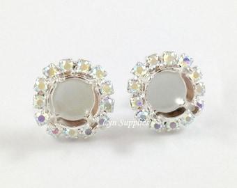 8mm ss39 Silver Plated Stud Earrings Base Settings CRYSTAL AB Rhinestones 1 Pair, Sparkly Rhinestones
