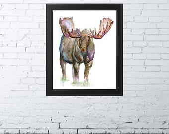 MOOSE PRINT | Moose Painting | Moose Watercolor | Woodland Nursery | Moose Decor | Moose Art | Woodland Nursery Decor | Moose Wall Art