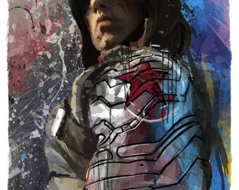 "NEW Winter Soldier Bucky Barnes Abstract Art Panel, 11x17"" art print mounted on board"