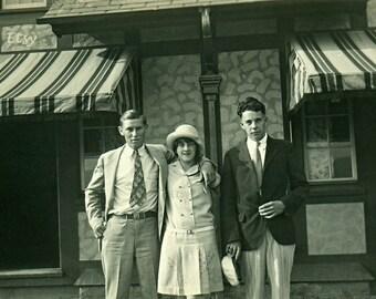 Instant Download Estimated 1920s vintage photo  picture friends family Storefront Printable Vintage art print