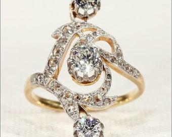 SALE Antique French Diamond Ring, Art Nouveau in 18k & Platinum
