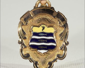 Vintage Gold and Enamel Fob Pendant, Worthing Coat of Arms