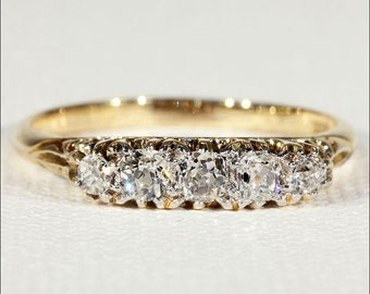 Antique Diamond Ring, 5 Stone Diamond Engagement or Stacking Ring in 18k Gold