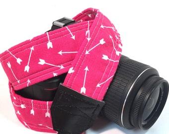 Arrow Camera Strap, Pink Camera Strap, DSLR Camera Strap, Padded Camera Strap, Camera Neck Strap, Nikon, Canon, Graduation Gift, Wedding