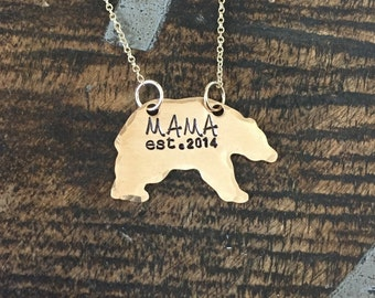 Mama Bear Necklace Mothers Day gift Momma bear necklace personalized established year golden mama necklace bear necklace mom gift mama gift