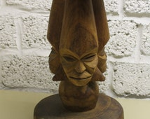 Old African Pedestal Stool Triple Sided Faces Tabouret Africa Wood Art Design hand carved Sculpture Object Tribal