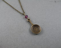 Bronze Tangled Inspired Fry Pan Charm Necklace - Rapunzel - Flynn Rider