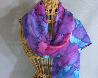 """Hand Painted Silk Scarf """"Jewel Colors"""""""