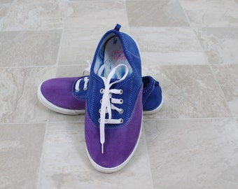 Tie dye shoes, tie dyed running shoes, womans size 5 tennis shoes, faded glory dyed shoes, Purple and blue shoes,