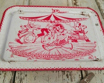 Vintage Folding Red and White Circus Child's Metal TV Tray