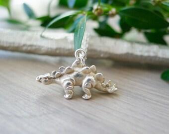 Sterling Silver Stegosaurus Necklace, Dinosaur Necklace, 3D Stegosaurus, Stegasaurus, Dinosaur Jewelry, Dino Necklace, Stegosaurus Pendant