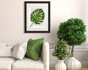 Monstera leaf print tropical decor tropical print beach house decor tropical poster Monstera plant palm print palm decor green leaf wall art