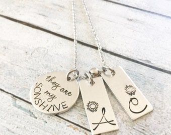 You are my Sunshine - Mother's necklace- Hand stamped jewelry - You are my Sunshine jewelry - Necklace with children's names - Sonshine
