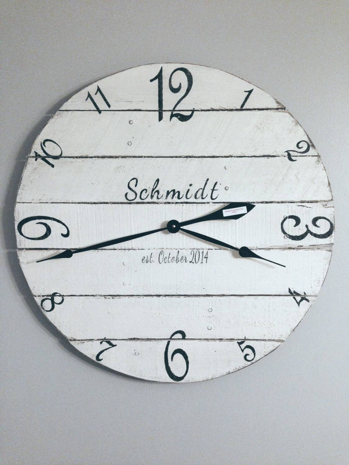 personalized wall clock wood clock white clock number. Black Bedroom Furniture Sets. Home Design Ideas
