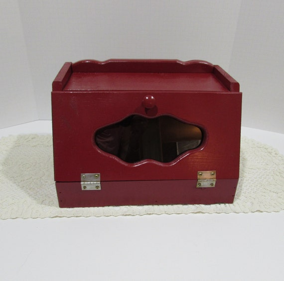 Red Wooden Rustic Bread Box Country Kitchen Glass Window