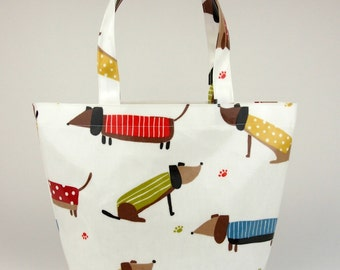 Tote bag - Oilcloth bag - Lunch bag - Dachshund bag - Small lunch bag - Oilcloth lunch bag - Sausage dog - Dachshund - Wiener dog
