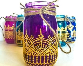 Joy and Happiness; 16oz. Hand Painted Indian Henna Mason Jar Lantern