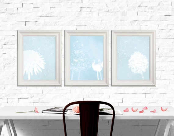 Light blue decor Blue Wall art Blue flower Poster print