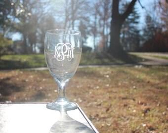 Monogrammed Engraved Water or Iced Tea Goblet