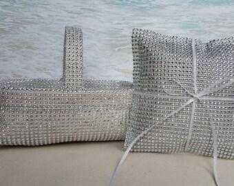 Bling Basket & Pillow - Your choice of bling color - Wedding Rhinestone Diamond Crystal Flower Girl Ring Bearer