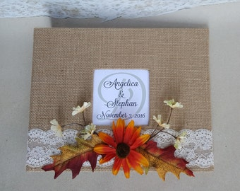 Fall Guest Book & Pen Set- Choice of colors- (Wedding, Shower, Birthday, Anniversary, Etc) - Rustic Burlap Leaves Leaf Guestbook Pen