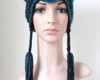 Black Cat Ear Hat, Women's Kitty Beanie, Teen Girl Winter Hat, Ladies Earflap Hat, Gifts for Cat Lovers, Unique Crochet Hat