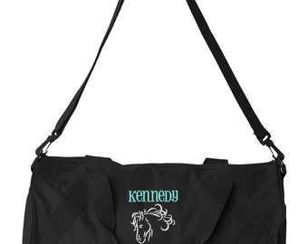 Duffel Bag * Personalized Horse Duffle Bags * Horse Lover Tote Bag * Embroidery Bag * Monogrammed Gift