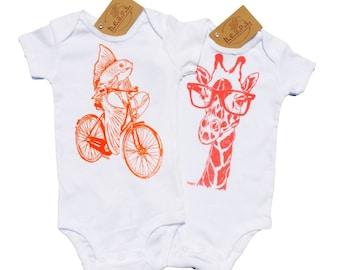 Baby Girl One Piece Set - Trendy Baby Girl Clothes - Orange Print One Piece - Pink Layette - Orange Fish on a Bike Pink Giraffe Glasses