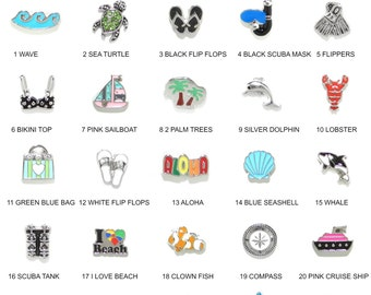 BEACH & OCEAN Floating Charms For Floating Charm Memory Locket - Sea Turtle - Scuba Dive - Snorkel - Whale - Dolphin - Palm Trees - Sailboat