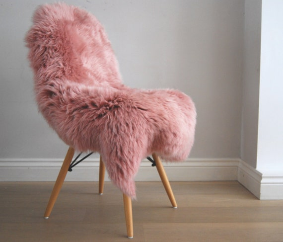 Dusky Pink Genuine Sheepskin Rug Throw Beautiful RARE Hygge