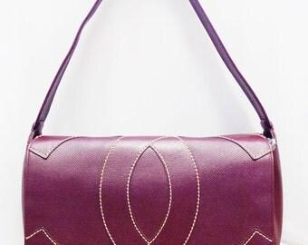 Vintage Chanel Red Burgundy CC Logo Caviar Leather Handbag Satchel Shoulder Bag Large