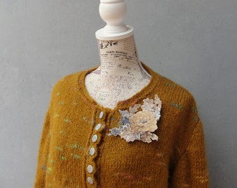 Mori Girl Cardigan, Romantic Mustard Knitted Jacket with Floral Brooch, Plus Size Clothing US size 12 / 14 EU size 42 / 44