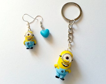 Minions FAN ART - Despicable Me Cattivissimo Me - Kevin Stuart Bob Banana Necklace earrings or Keychain