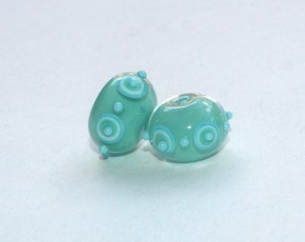 Set of 2 Donut Beads - Green Blue Turquoise - Handmade Lampwork Glass Beads - Points Dots - 2 pieces