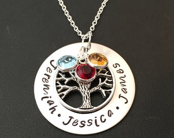 Hand Stamped Jewelry-Personalized Mother's Necklace-Tree of life family necklace