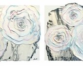 Abstract Rose Plaster Painting in Black, White, Pastel Pink, Aqua and Yellow with Metallic Gold Flakes - Original Acrylic Art on Canvas