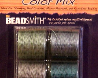 "Cord, S-LON, Bead Cord, 4 Color Mix ""Ocean Mist"", Extra Heavy #18 Twisted Nylon Cord, Kumihimo Cording,  77 Feet EACH Color"