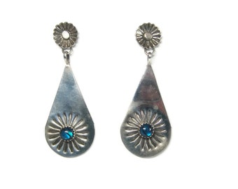 Vintage Alpaca Paua Shell Dangle Earrings