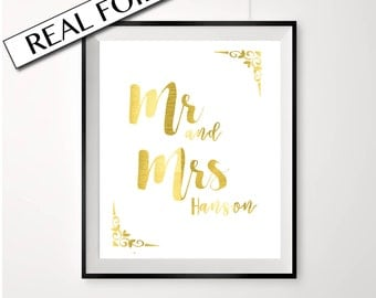 GOLD FOIL Mr and Mrs sign, custom names, wedding poster, customise with your newly married last name, large wedding sign, A4 or A3 size